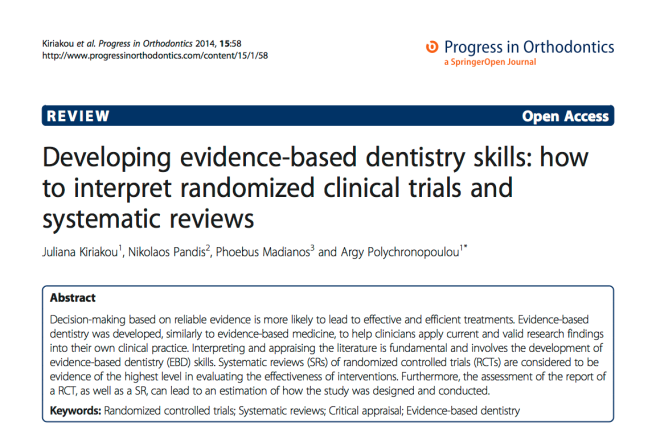 Developing evidence-based dentistry skills: how to interpret randomized clinical trials and systematic reviews